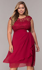 Image of knee-length plus-size mother-of-the-bride dress. Style: MCR-2212 Front Image