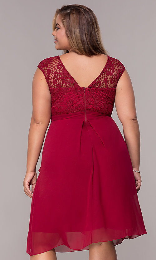 Image of knee-length plus-size mother-of-the-bride dress. Style: MCR-2212 Back Image