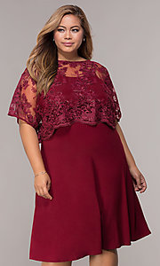 Image of burgundy plus-size knee-length MOB dress with shawl. Style: MCR-2357 Front Image