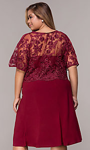 Image of burgundy plus-size knee-length MOB dress with shawl. Style: MCR-2357 Back Image