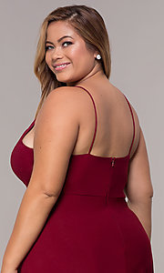 Image of burgundy plus-size knee-length MOB dress with shawl. Style: MCR-2357 Detail Image 2
