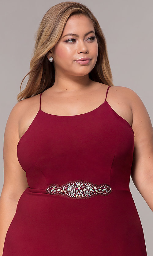 Image of burgundy plus-size knee-length MOB dress with shawl. Style: MCR-2357 Detail Image 1