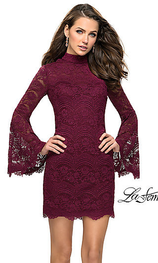Short Lace Homecoming Dress with Long Sleeves