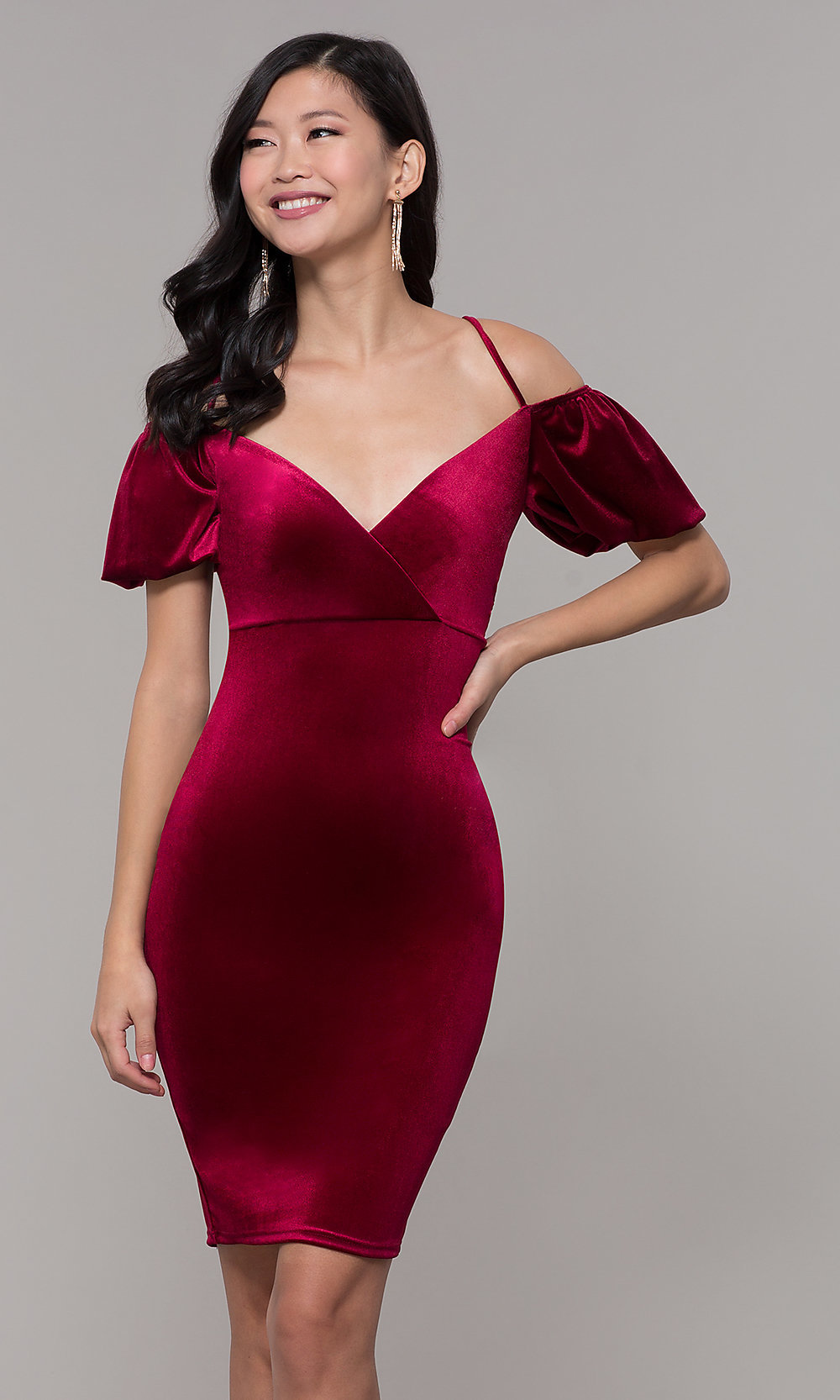 8a81def85108c Tap to expand · Image of knee-length velvet cold-shoulder party dress.