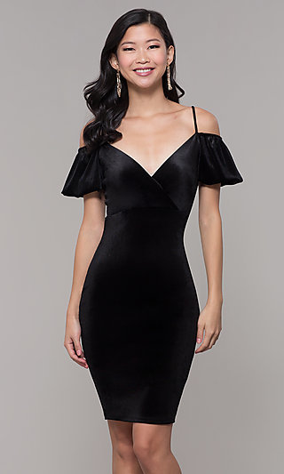 Knee-Length Velvet Cold-Shoulder Party Dress