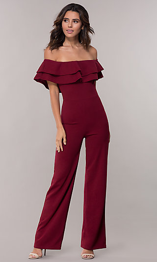 Off-the-Shoulder Popover Crepe Party Jumpsuit