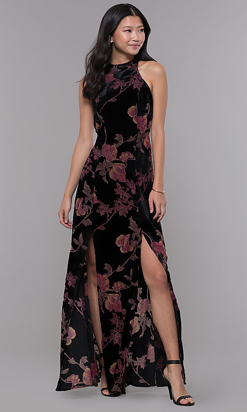 972457ce7fa Image of long floral-print velvet wedding guest dress. Style  LUX-LD4312