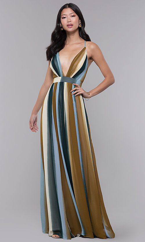 ba0f5935b6b6 Image of long striped chiffon wedding guest dress. Style: LUX-LD4867 Front  Image