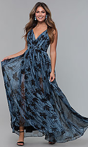 Image of long chiffon print v-neck wedding guest dress. Style: LUX-LD5049 Front Image