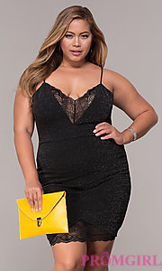 Image of short v-neck plus-size holiday party dress. Style: SY-IXD5959MP Front Image