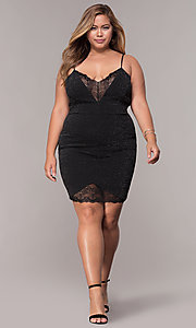 Image of short v-neck plus-size holiday party dress. Style: SY-IXD5959MP Detail Image 2