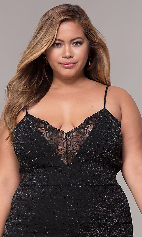 Image of short v-neck plus-size holiday party dress. Style: SY-IXD5959MP Detail Image 1