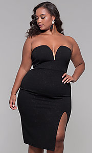 Image of knee-length strapless plus-size holiday party dress. Style: SY-IXD6066VP Front Image
