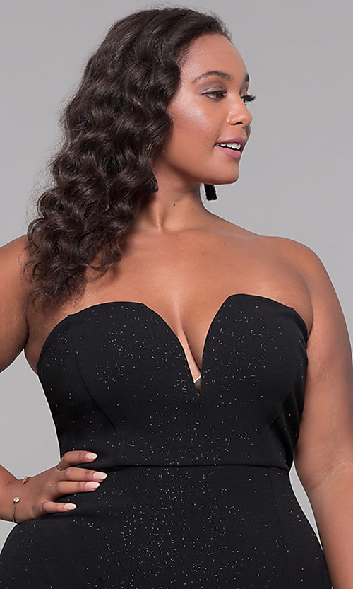 Image of knee-length strapless plus-size holiday party dress. Style: SY-IXD6066VP Detail Image 1