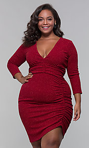 Image of short plus-size wine red holiday dress with glitter. Style: SY-IXD6078AP Front Image