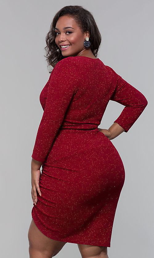 Image of short plus-size wine red holiday dress with glitter. Style: SY-IXD6078AP Back Image