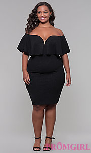 Image of holiday party short plus-size off-the-shoulder dress. Style: SY-IXD6079AP Detail Image 2