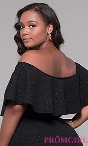Image of off-the-shoulder long holiday plus-size dress. Style: SY-IXD6082AP Detail Image 2