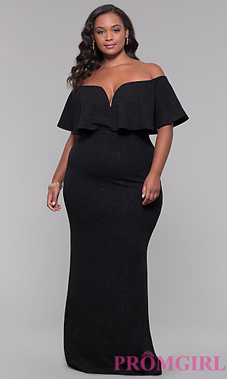 Off-the-Shoulder Long Holiday Plus-Size Dress