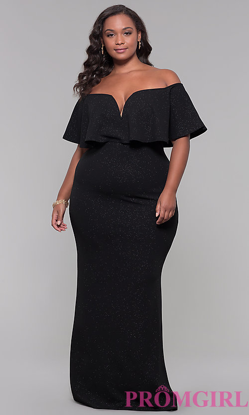 Image of off-the-shoulder long holiday plus-size dress. Style: SY-IXD6082AP Front Image