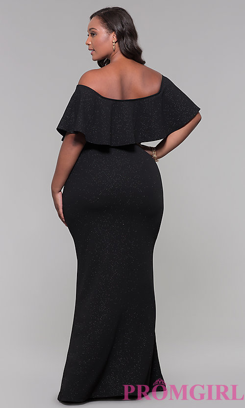 Image of off-the-shoulder long holiday plus-size dress. Style: SY-IXD6082AP Back Image