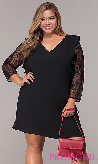 Short Shift Plus-Size Party Dress with 3/4 Sleeves