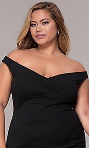 Image of off-the-shoulder plus-size short party dress. Style: SY-IXD5974AP Detail Image 1