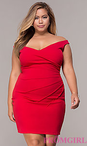 Image of off-the-shoulder plus-size short party dress. Style: SY-IXD5974AP Detail Image 3