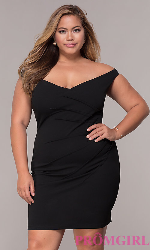 Image of off-the-shoulder plus-size short party dress. Style: SY-IXD5974AP Front Image
