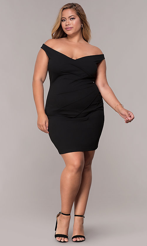 Image of off-the-shoulder plus-size short party dress. Style: SY-IXD5974AP Detail Image 2