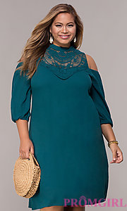Image of short cold-shoulder teal plus shift party dress. Style: SY-KXD5921CY Front Image