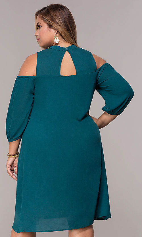 Image of short cold-shoulder teal plus shift party dress. Style: SY-KXD5921CY Back Image