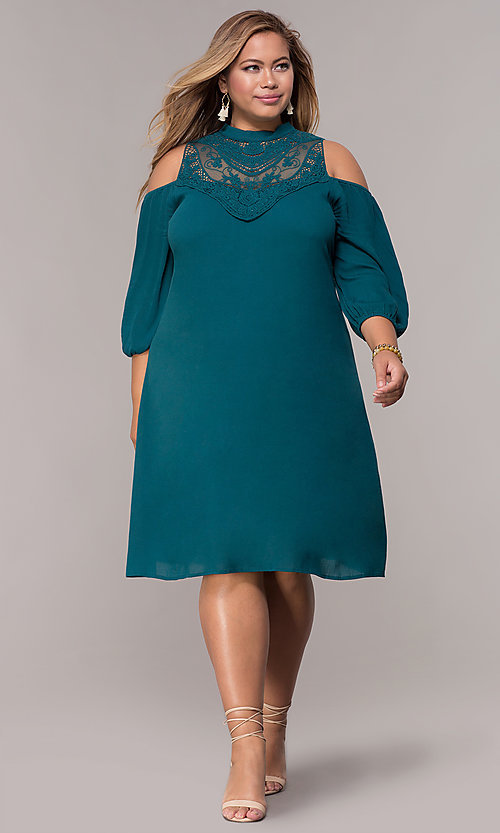Image of short cold-shoulder teal plus shift party dress. Style: SY-KXD5921CY Detail Image 3