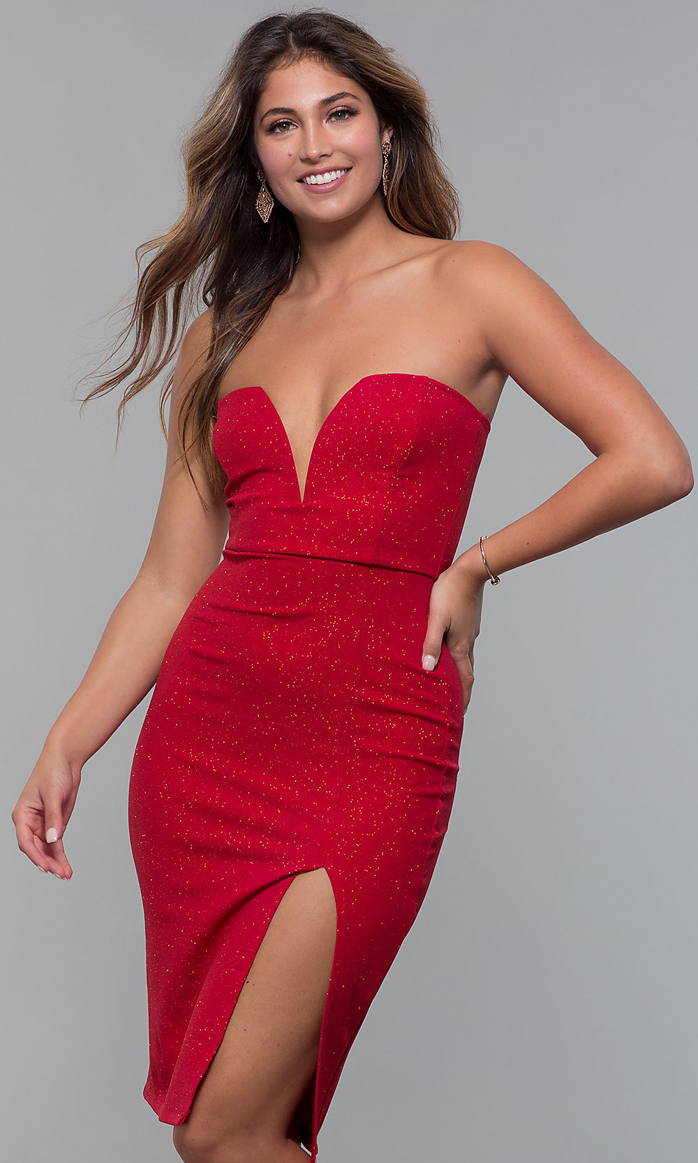 aba0cc4505 Strapless V-Neck Red Holiday Party Dress - PromGirl