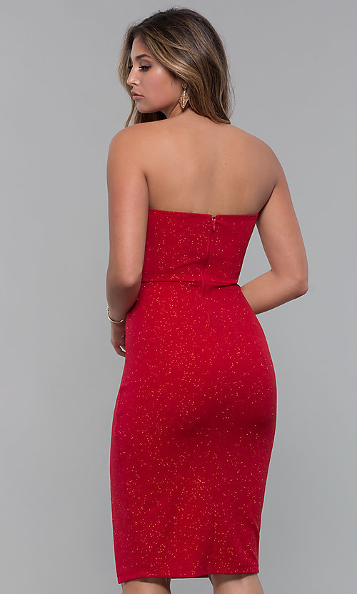 image of short strapless v neck red holiday party dress style sy - Red Dress For Christmas Party