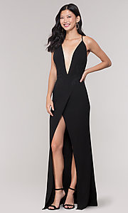 Image of long formal faux-wrap holiday dress. Style: SY-IDM5941AP Front Image