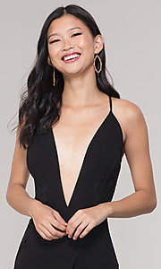 Image of long formal faux-wrap holiday dress. Style: SY-IDM5941AP Detail Image 1