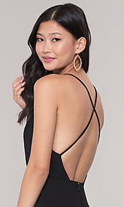 Image of long formal faux-wrap holiday dress. Style: SY-IDM5941AP Detail Image 2