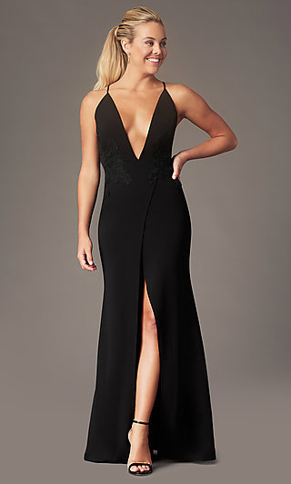 Long Formal Faux-Wrap Holiday Dress