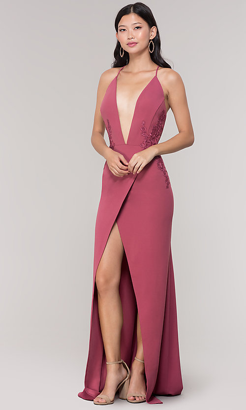 Image of long formal faux-wrap holiday dress. Style: SY-IDM5941AP Detail Image 3