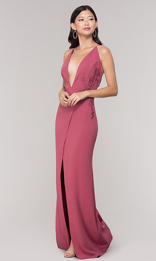 Image of long formal faux-wrap holiday dress. Style: SY-IDM5941AP Detail Image 7