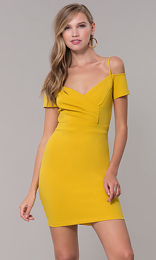 46c52a9767e3 Off-the-Shoulder Short Party Dress with Ruching