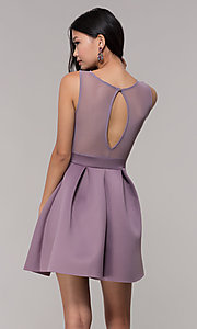 Image of short box-pleated party dress with sheer back. Style: DC-D46680 Detail Image 3