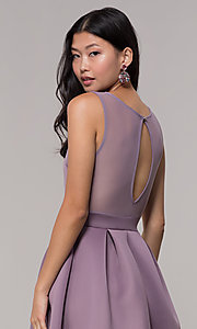 Image of short box-pleated party dress with sheer back. Style: DC-D46680 Detail Image 4