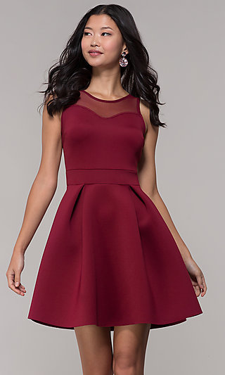 Short Box-Pleated Party Dress with Sheer Back