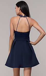 Image of short lace-bodice open-back party dress. Style: DC-D44830 Back Image