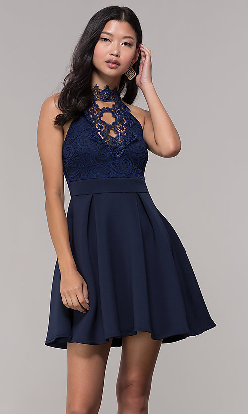 Image of short lace-bodice open-back party dress. Style: DC-D44830 Front Image
