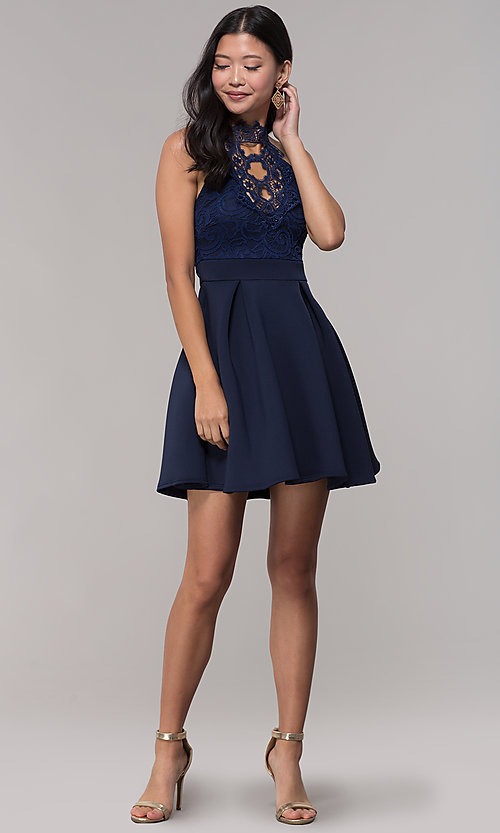 Image of short lace-bodice open-back party dress. Style: DC-D44830 Detail Image 1