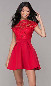 Image of short sequin-lace-bodice red party dress. Style: CL-46395 Front Image