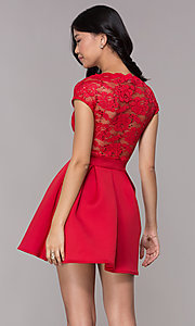 Image of short sequin-lace-bodice red party dress. Style: CL-46395 Back Image